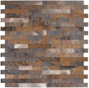 30 Tile-Video demo,Peel and Stick Backsplash Tile,Rusty Slate Faux Granite Stone