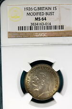 New listing 1926 Ngc Ms64 Great Britain Modified Bust One Shilling! #B6441