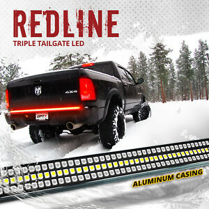 """OPT7 48"""" Car TRIPLE LED Tailgate Light Bar Sequential Turn Signal Brake Red"""