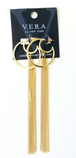 Gold Toned Cresent Hoop Long Chain Tassel Dangle Earrings - Gift Boxed