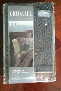CROSCILL Zarina European Sham Brown Blue Gold Metallic Embroidered Flange