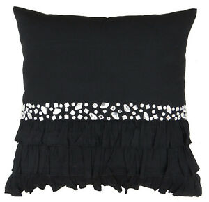 S4Sassy Decorative Black Handcrafted Cushion Cover Stone Beaded Pillow Throw