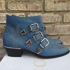 Chloe Suzanna Susan Susannah Blue Indiano Susanna Studded Ankle Boots 40.5 $1380