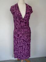 Wrap Dress Size 12 Volonte Jersey Purple Floral Print Smart Crossover Style