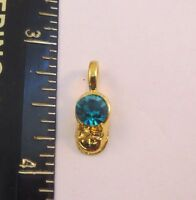 14KT GOLD EP DECEMBER - BLUE ZIRCON BABY SHOE BIRTHSTONE CHARM PENDANT