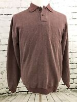 Orvis Mens Long Sleeve Polo Shirt Sz Med Leather Elbow Patches Wine Sweater  O6