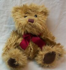 "Russ Gregory Tan Fuzzy Teddy Bear W/ Red Bow 6"" Plush Stuffed Animal Toy"