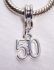 Number 50 Fiftieth Birthday Anniversary Age Dangle Charm for European Bracelets