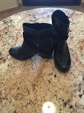 Eileen Fisher Black Leather Heel Ankle Boots Size 8