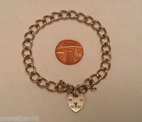 SOLID STERLING SILVER BRACELET / CHARM BRACELET WITH PADLOCK & SAFETY CHAIN