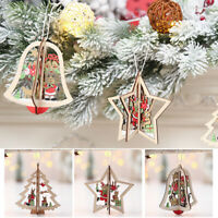 3pc Wooden Christmas Hang Decor Tree Bell Star Xmas Ornament Pendant Party Gift