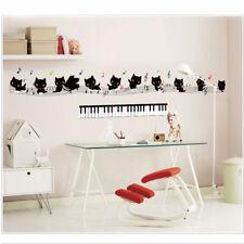 Wall sticker adesivo parete gatti musica note decorazione casa cameretta bimbi