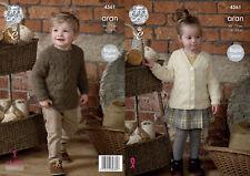 King Cole Childrens Aran Knitting Pattern Raglan Sleeve Tunic & Cardigan 4561