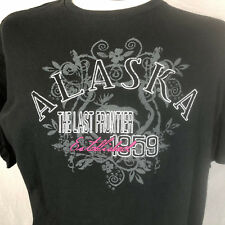 Delta Pro Weight Alaska The Last Frontier Crew Neck T Shirt Sz Extra Large Black