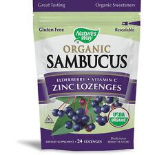 NATURES WAY - Zinc Lozenge Sambucus Organic Dietary Supplement - 24 Lozenges