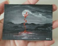 ACEO Original Halloween Blood Painting Bloody moon night by Mayra MTV water