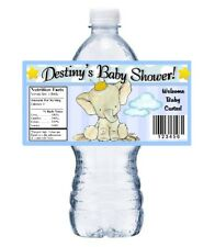 20 BLUE ELEPHANT BABY SHOWER PARTY FAVORS GLOSSY WATER BOTTLE LABELS WRAPPERS