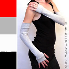 Grey Long Cotton Fingerless Arm Warmers Gloves Fibromyalgia Relief Sleeves 1009