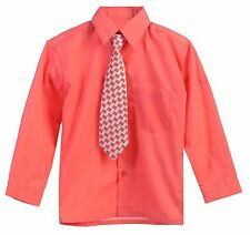 Long Sleeve Dress Shirt Tie Boy KIds Solid Button Down Party Formal All Size 20