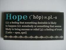 "HOPE Encouraging Word Definition Wood Sign Plaque 10""x4.5"" with attached easel"