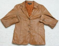 Dress Jacket Coat Brown 40 Women's Woman's 3-Button Collared Lined Made In Japan