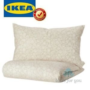 IKEA TRINDSTARR Duvet Cover and Pillowcase(s) Beige White Twin Queen King