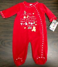 NWT LITTLE ME Holiday Velour Sleeper Size 6M Dear Santa MSRP $29