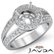 Semi Mount 14k White Gold 0.55Ct Diamond Engagement Halo Pave Set Round Cut Ring