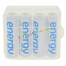 4x AA 3300mAh Ni-Mh Energy Rechargeable Battery White Cell for MP3 RC + 1PC Case