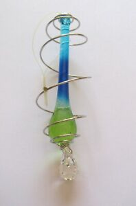 """Raindrop Crystal Ornament-green turquoise blue -tear drop clear crystal- 4"""""""