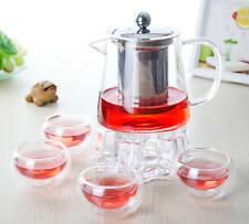 6in1 Heat Resistant Glass Tea Set-500ml Teapot & Filter & Lid+4*Cups+Warmer B