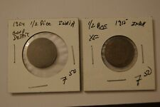 1915 Xf & 1924 Good Detail 1/2 Pice India George V King Emperor Coins