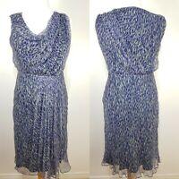 Fenn Wright Manson Blue Watercolour Silk Dress Size 10 Draped Wedding Cruise