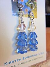Folk Art Tannenbaum Christmas Tree EARRINGS Artisan USA Handmade Blue Spruce