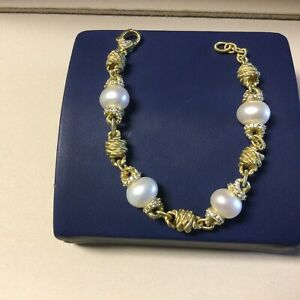 Judith Ripka Sterling 14k Clad Pearl Station Bracelet