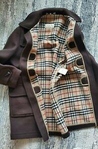 Burberry London Duffle Toggle Heavy Wool Coat Plaid Large