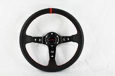 Universal 6-hole Deep Dish Steering Wheel Black Center Red Stripe Acura Honda