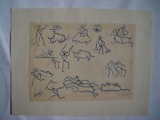 Tema taurino Dibujo de la pintora nacida en Calatayud Carmen Osés (1898-1961).