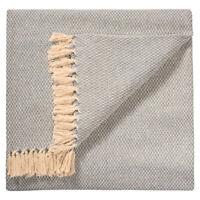 ⭐ Small Diamond Grey Cotton Woven Sofa Settee Bedspread Blanket Throw Fair Trade
