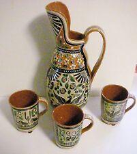 Rare Vtg Geronimo Ramos Mexican Art Pottery Pitcher & Mugs, Tonala, Jalisco