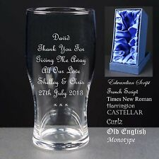 Personalised Tulip Pint Glass,Wedding Favour,For Giving Me Away Gift, Satin Box