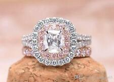 2.50ct Pink Cushion Double Halo Engagement Ring With Band 14k White Gold Set