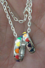 """Heart Rings RAINBOW FRIENDSHIP Necklace with 2 Bands Sizes 6 & 10 Chain 22"""" NEW!"""