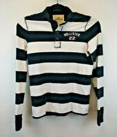 Hollister California Long Sleeve Men's Large Henley Shirt Blue & White Strip