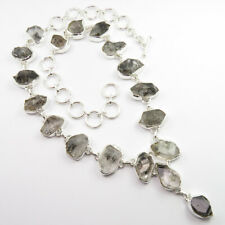 925 Solid Sterling Silver Genuine HERKIMER DIAMOND Everyday Necklace 18.7 Inches