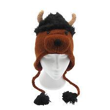 Divertido Peludas TORO Gorro de lana invierno hecho a mano con diseño animal