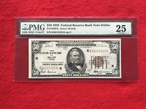 FR-1880K KEY 1929 Series $50 Dallas Federal Reserve Bank Note *PMG 25 Very Fine*