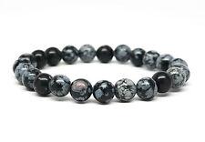Snowflake Obsidian Beaded Mens Bracelet Handmade