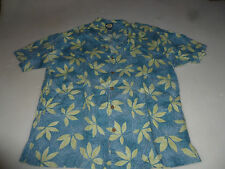 VINTAGE TOMMY BAHAMA HAWAIIAN LEAVES LINEN BUTTON SHIRT MENS SIZE LARGE