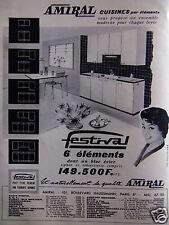 PUBLICITÉ 1958 AMIRAL CUISINES FESTIVAL PAR ÉLÉMENTS - ADVERTISING